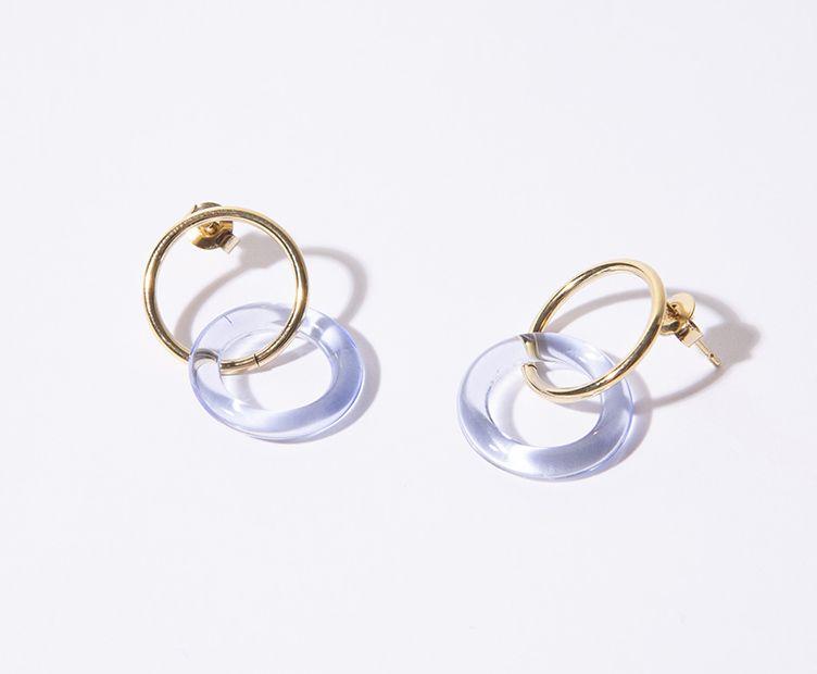 Boucles d'oreilles anneaux en verre transparentes