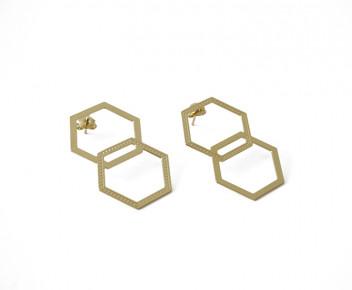 Earrings double hexagon